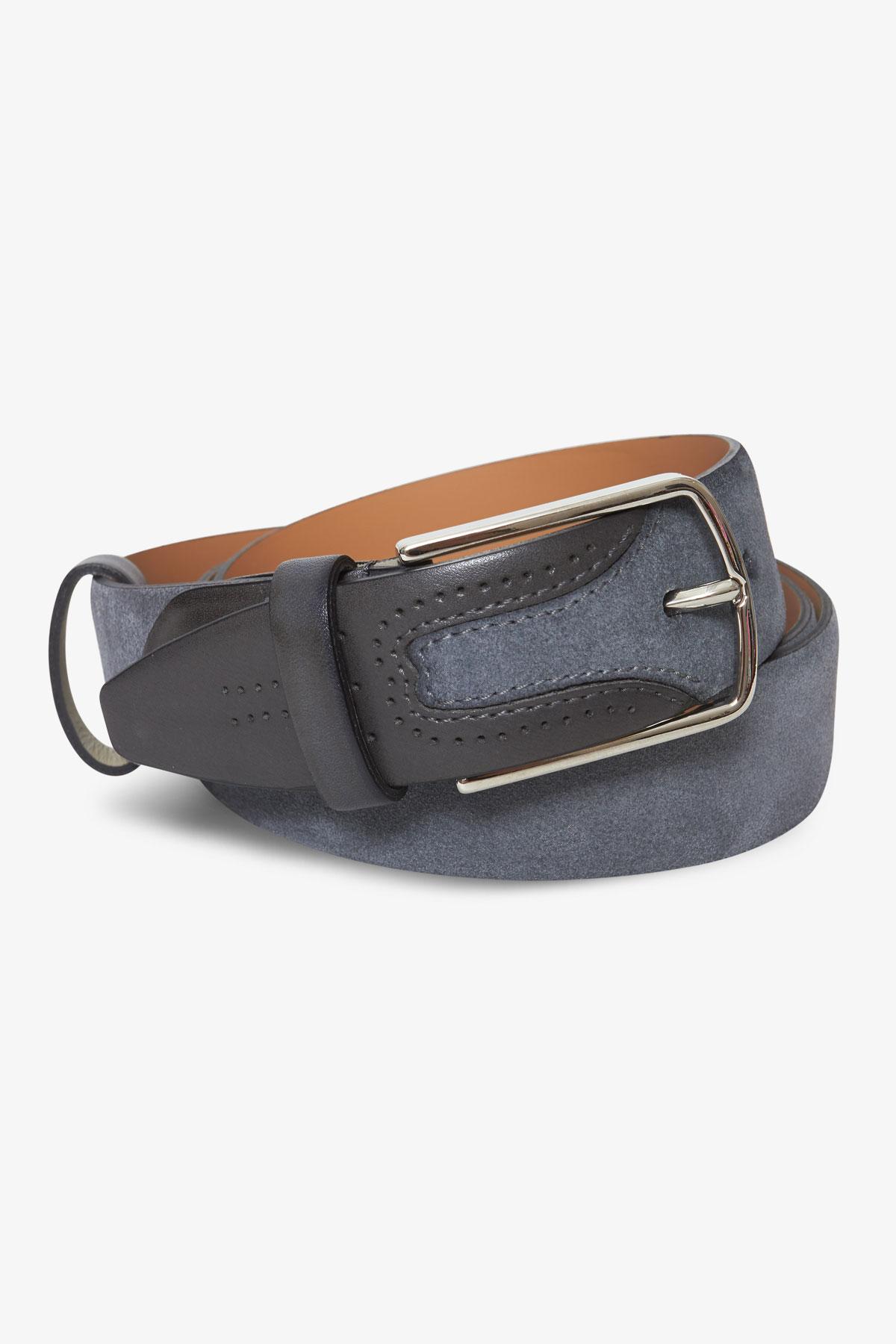 Ремень кожаный серого цвета 18-04-62