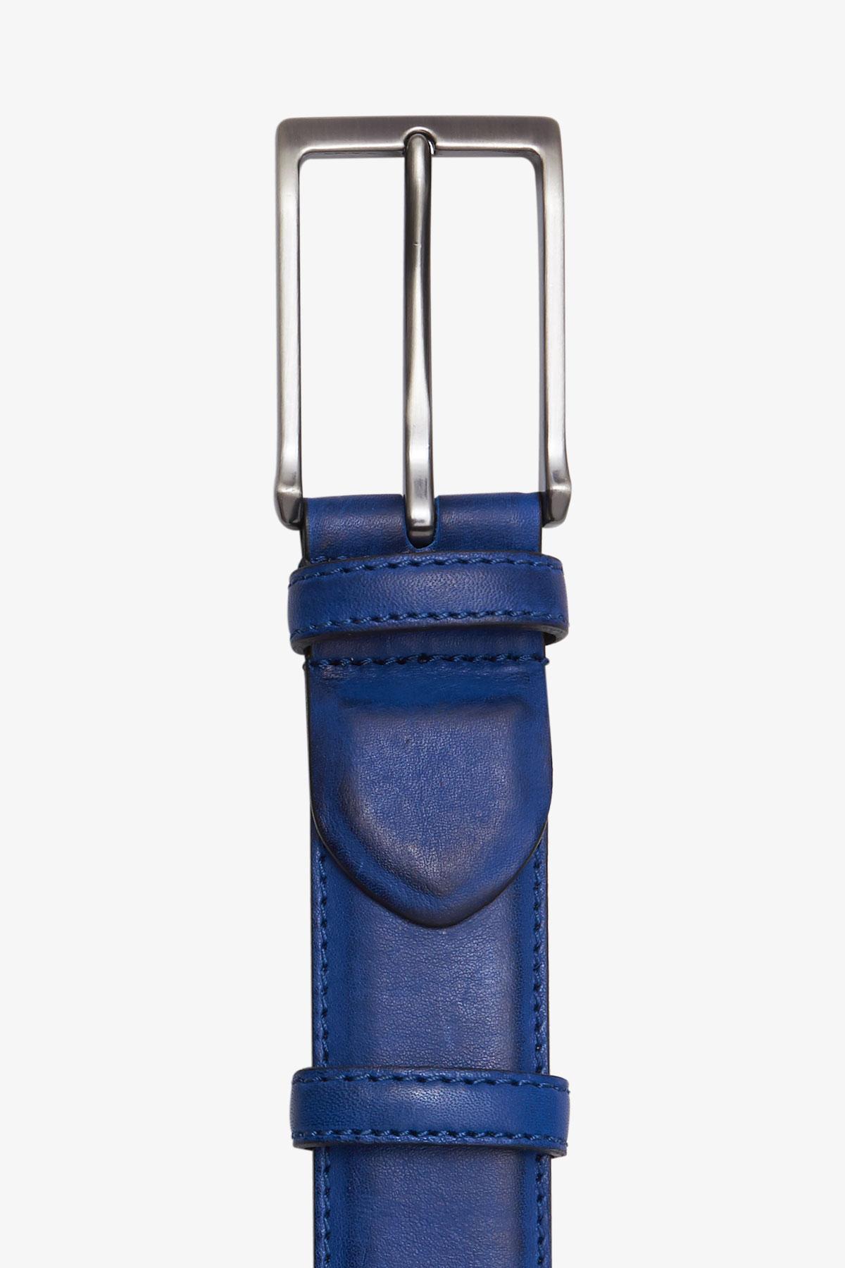 Ремень кожаный синего цвета 18-04-65