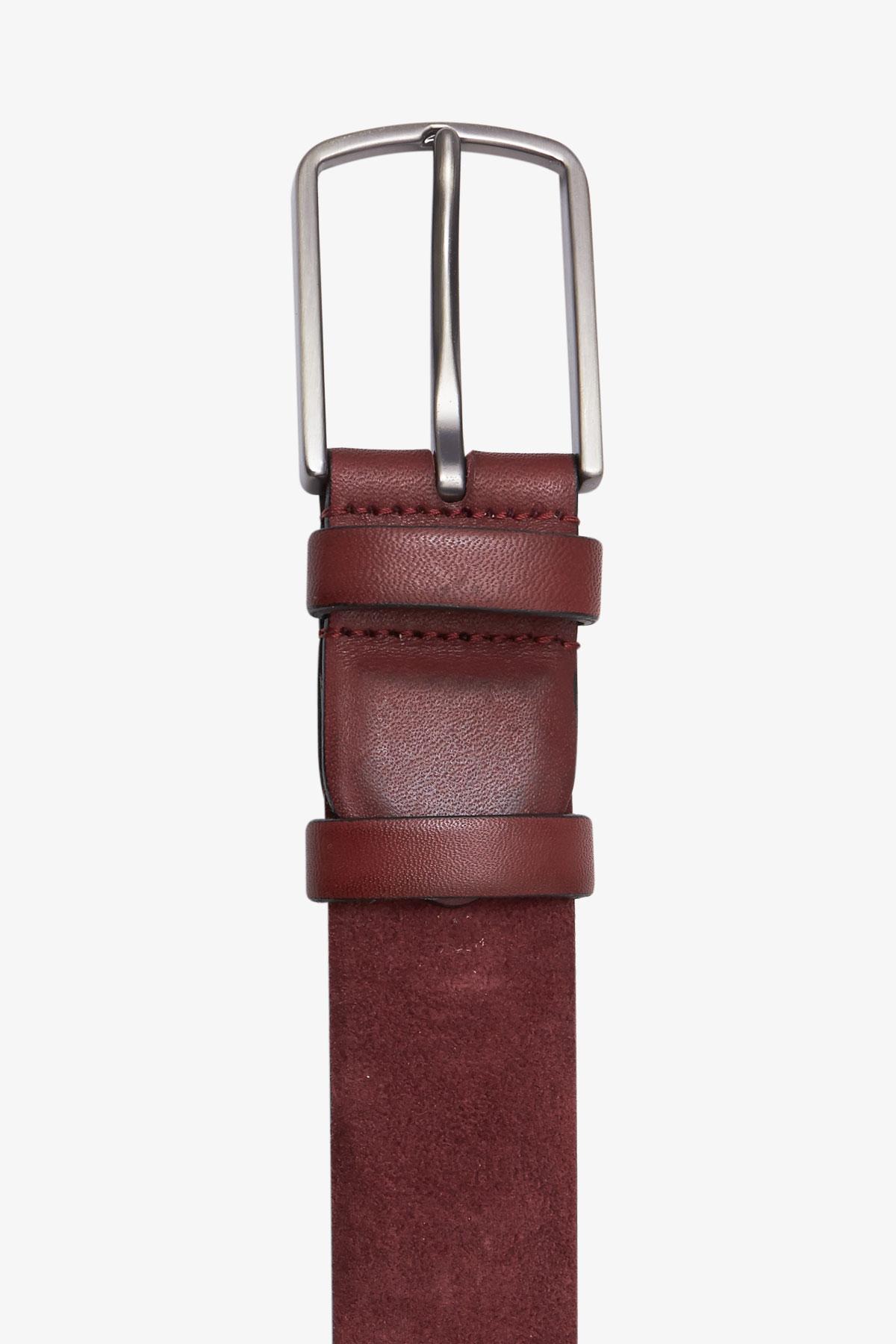 Ремень кожаный красного цвета 18-04-67