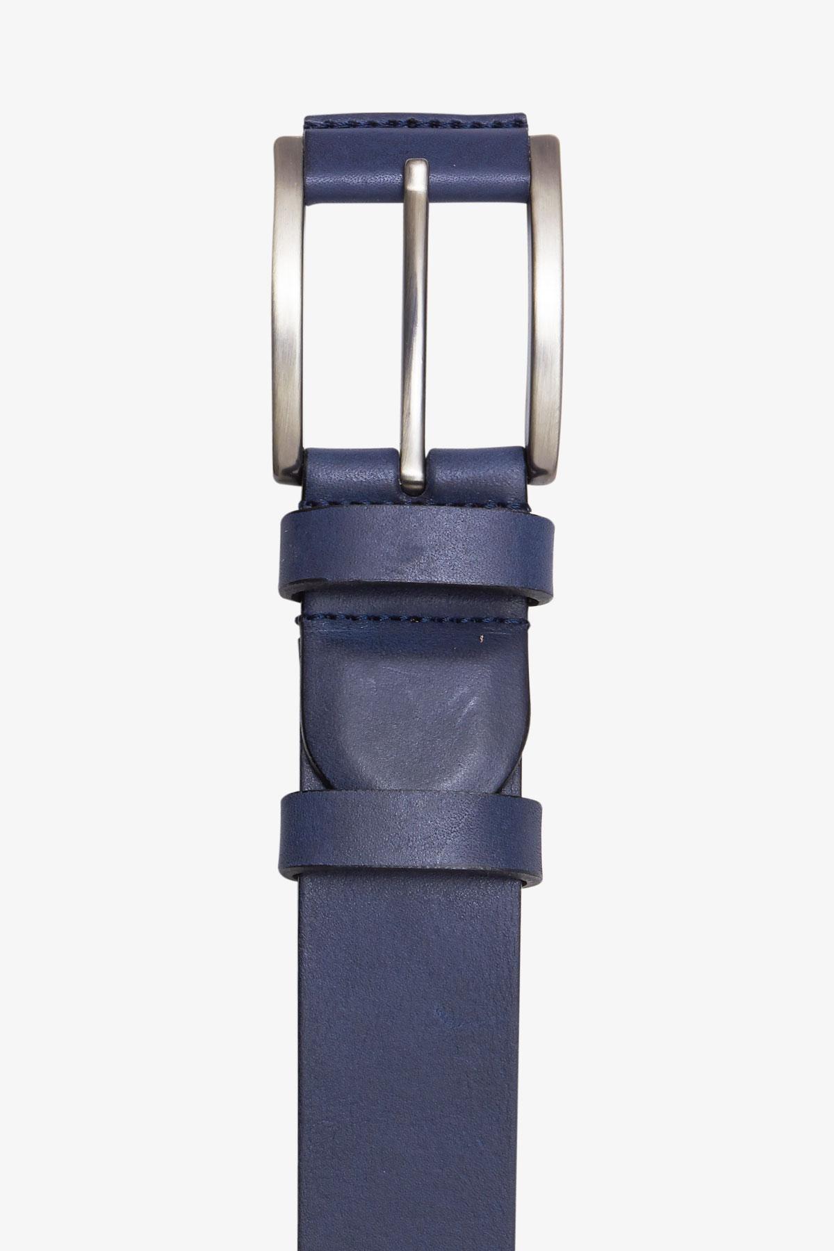 Ремень кожаный синего цвета 18-04-70