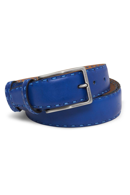 Ремень кожаный синего цвета 18-01-04J