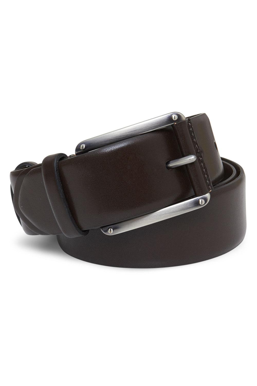 Ремень кожаный темно-коричневого цвета 18-01-06J