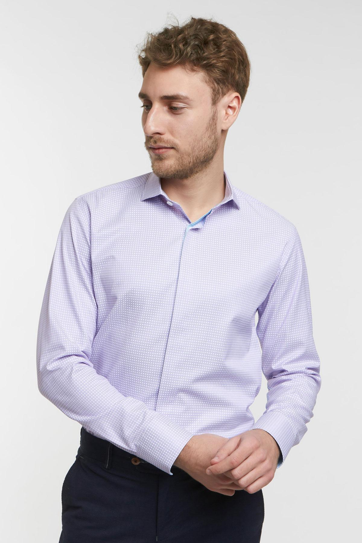 Рубашка фиолетовая в узор Vaismann 18101