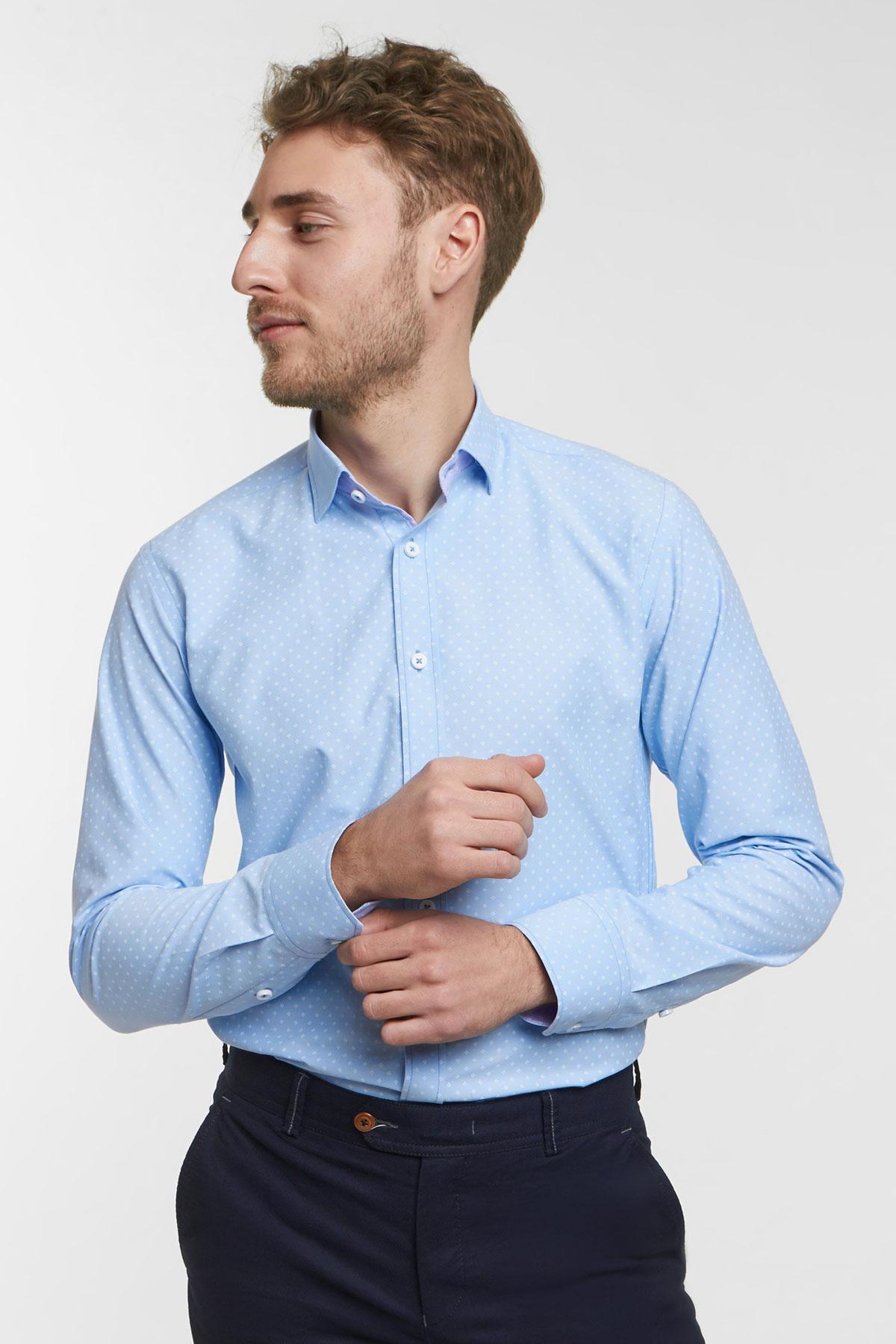 Рубашка цвета «деним» в узор Vaismann 18102