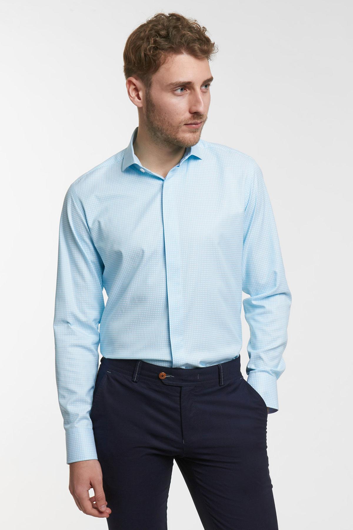 Рубашка цвета «деним» в узор Vaismann 18106