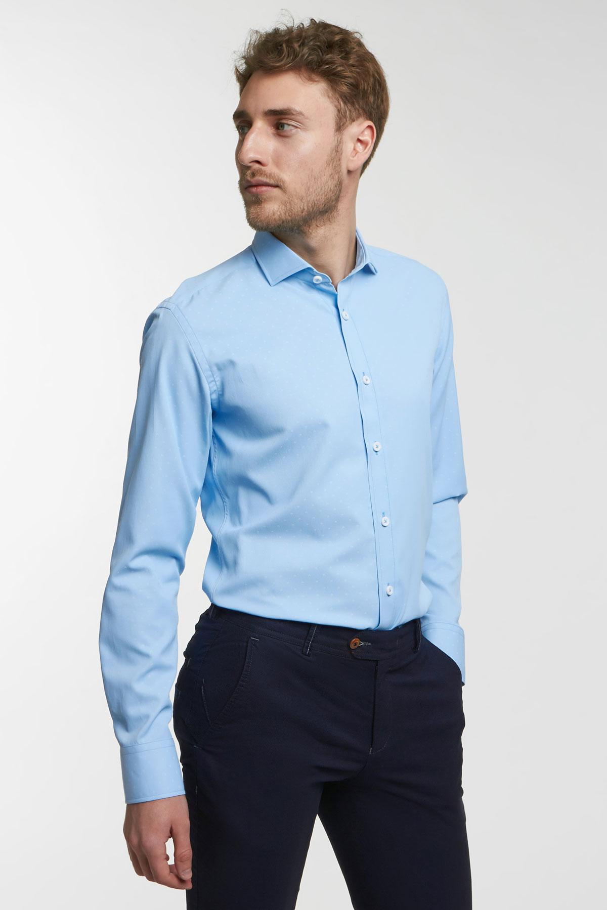 Рубашка цвета «деним» в узор Vaismann 18104