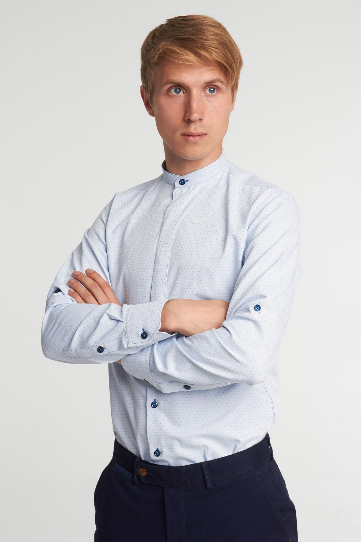 Рубашка голубого цвета в узор Vaismann 18105