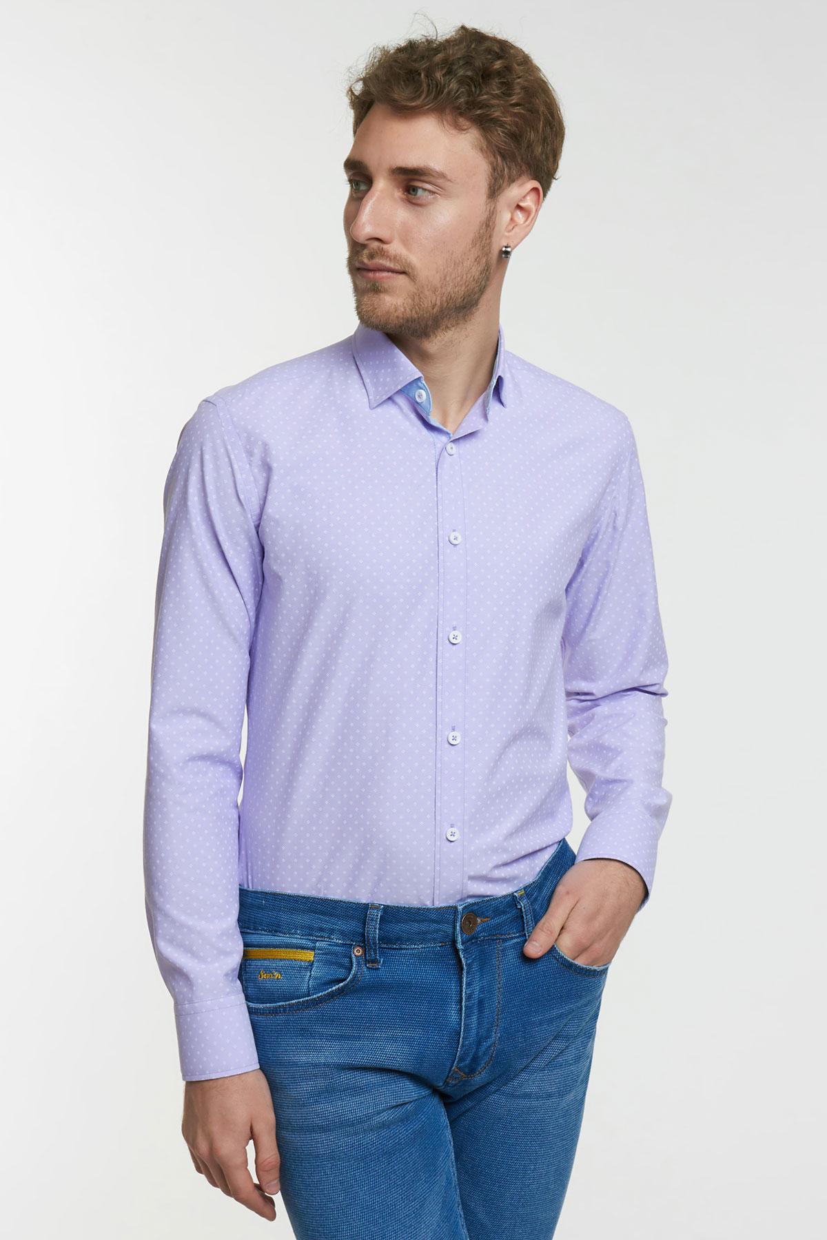 Рубашка фиолетовая в узор Vaismann 18107