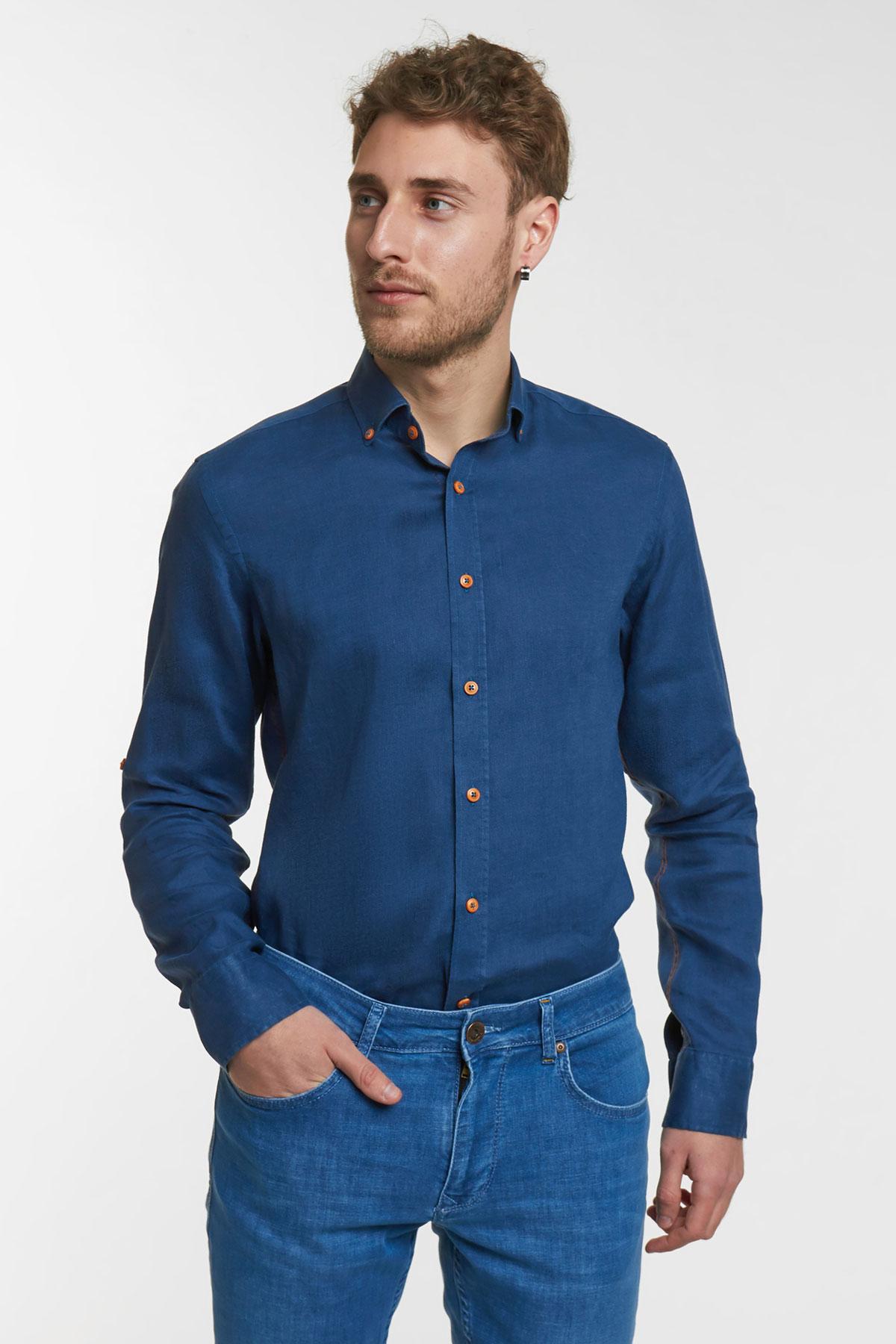 Рубашка темно-синего цвета Vaismann 18110