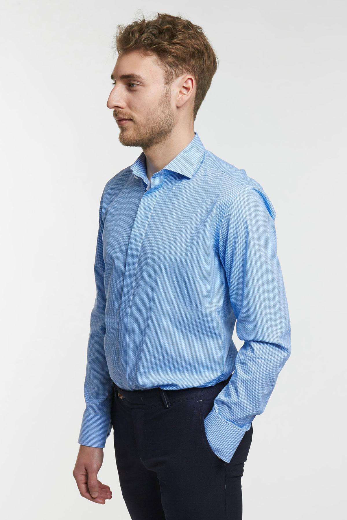 Рубашка структурная цвета «деним» Vaismann 18111