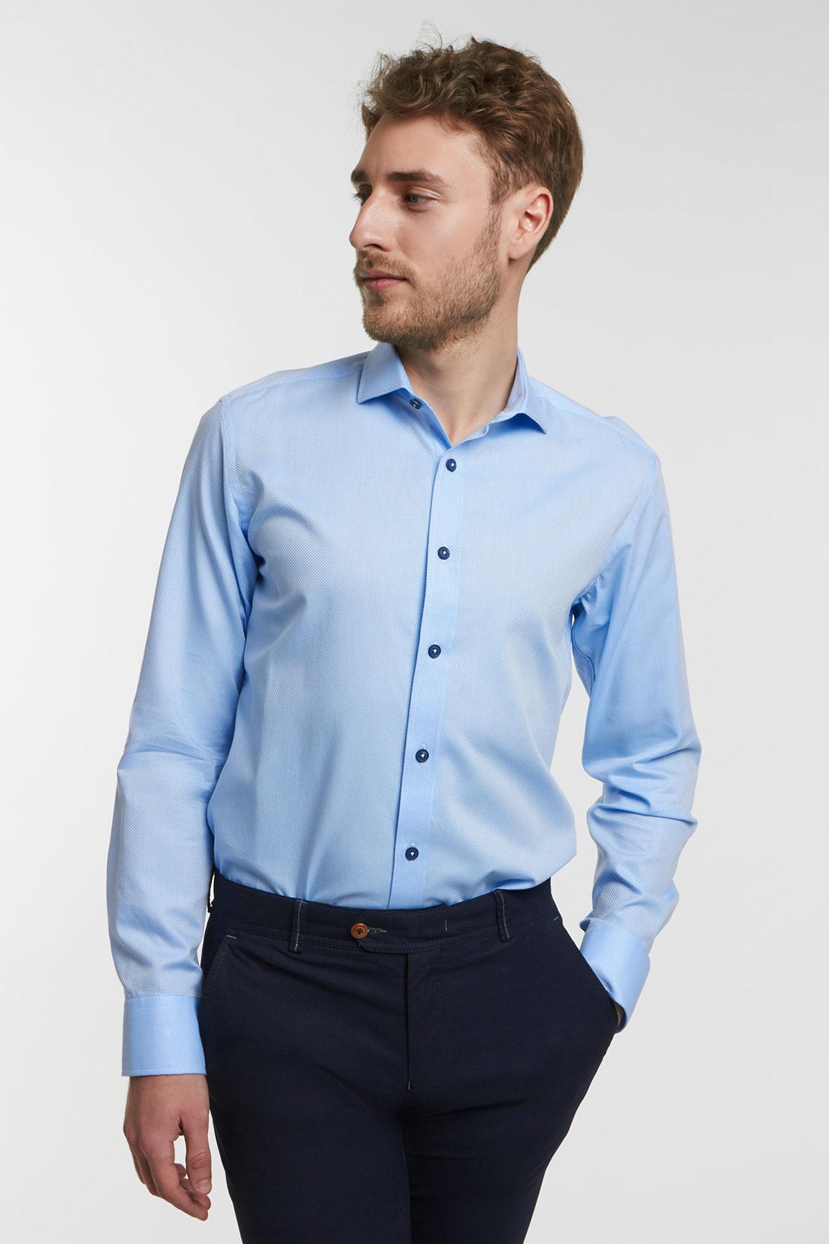 Рубашка структурная цвета «деним» Vaismann 18112