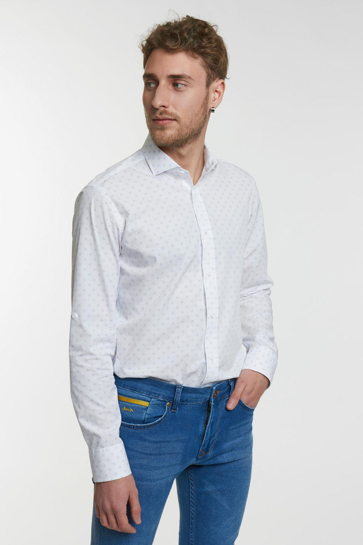 Рубашка белая в узор Vaismann 18115