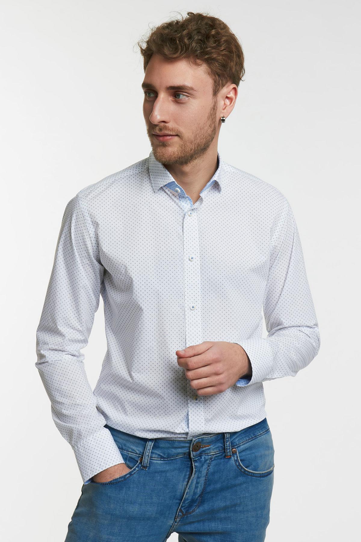 Рубашка белая в узор Vaismann 18116