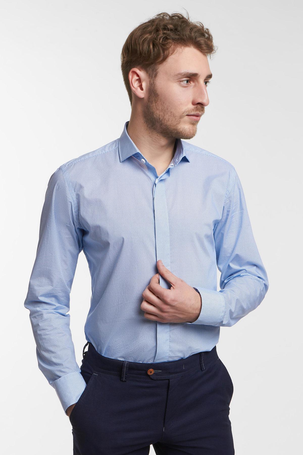 Рубашка цвета «деним» в узор Vaismann 18119