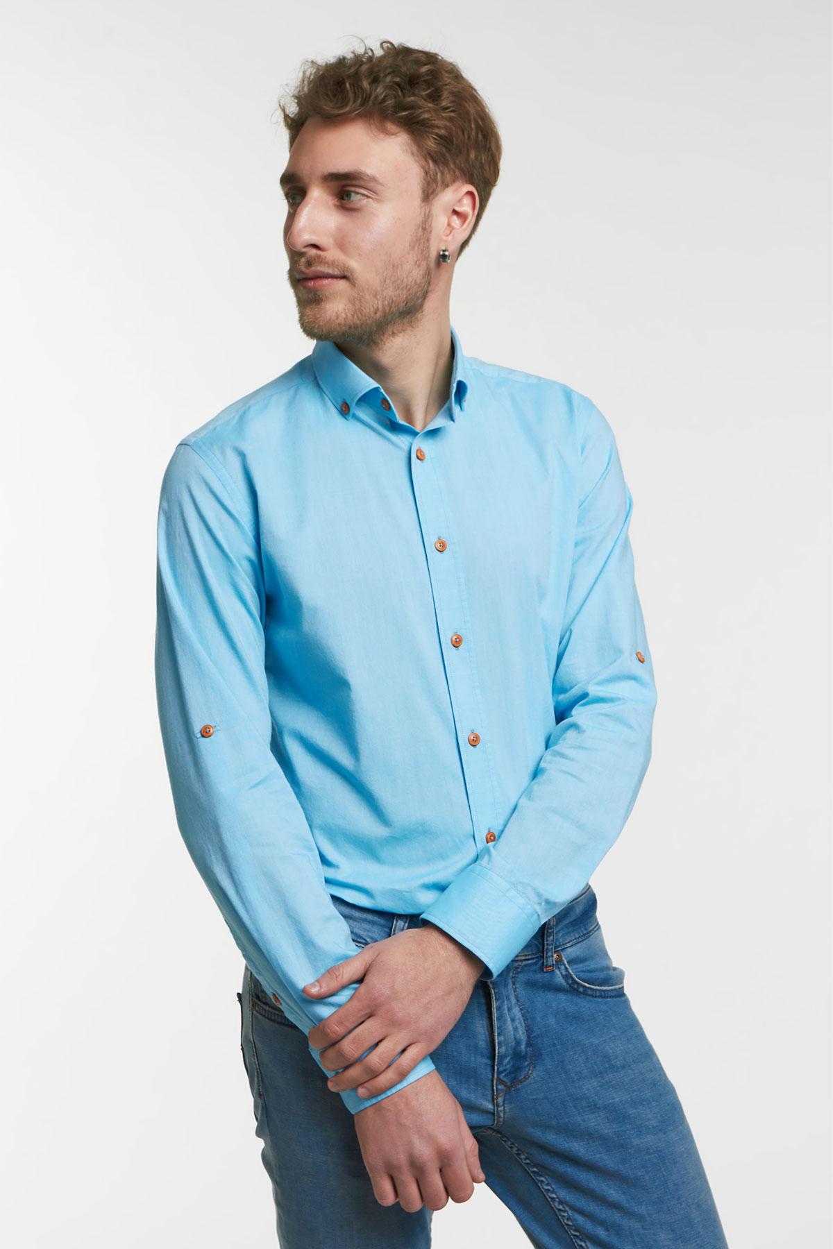 Рубашка цвета «деним» Vaismann 18122