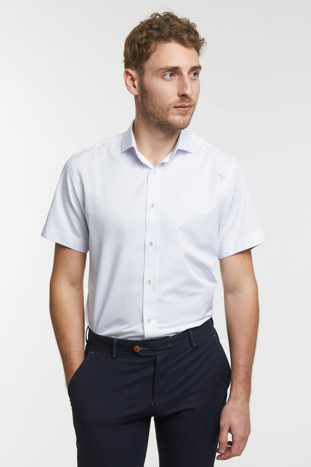 Рубашка структурная белого цвета 18126k
