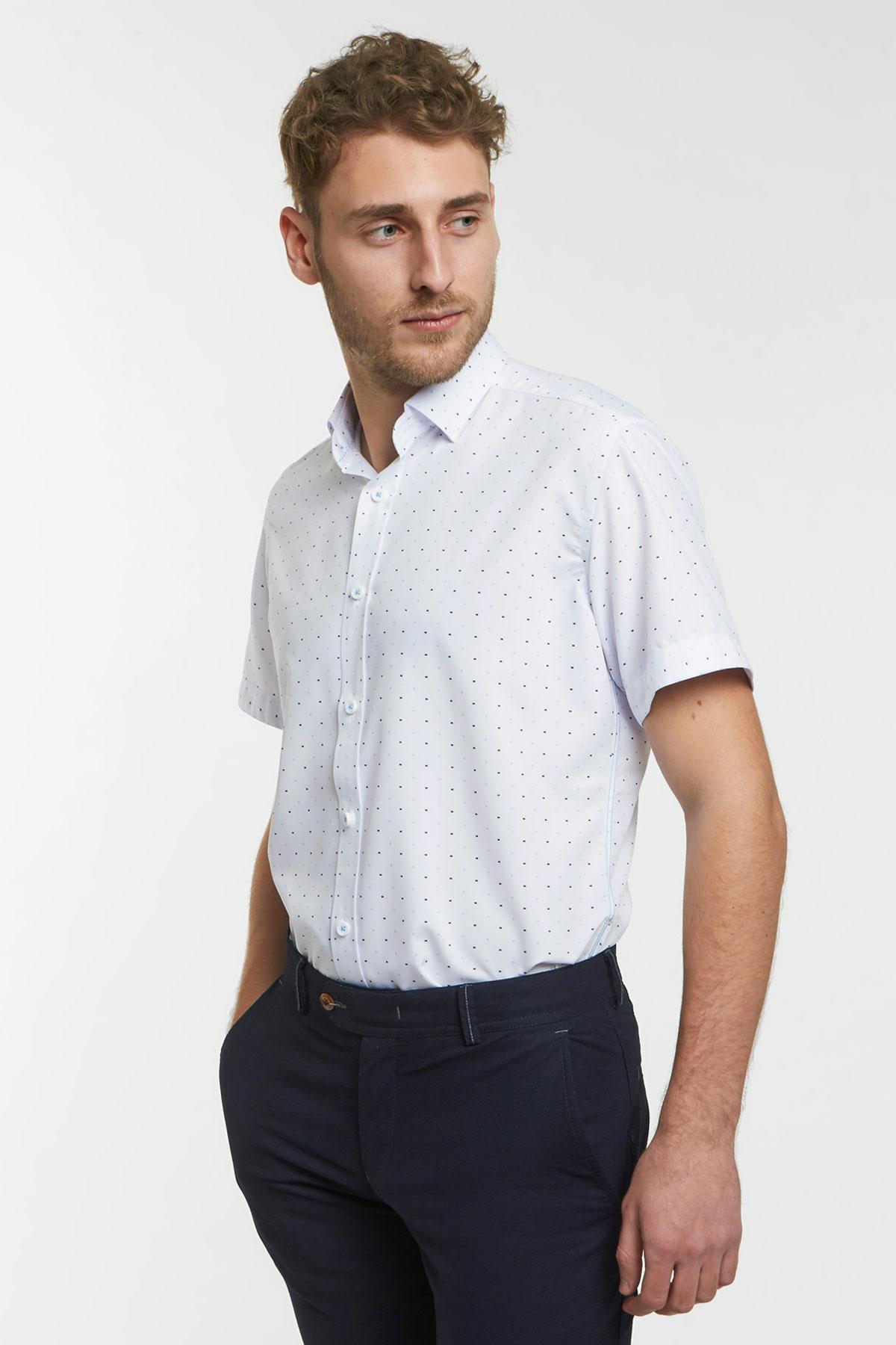 Рубашка белого цвета в узор 18127k
