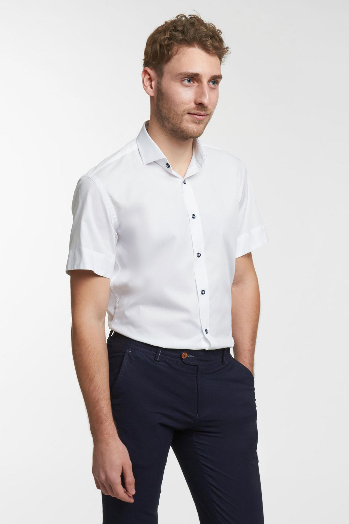 Рубашка структурная белого цвета 18128k
