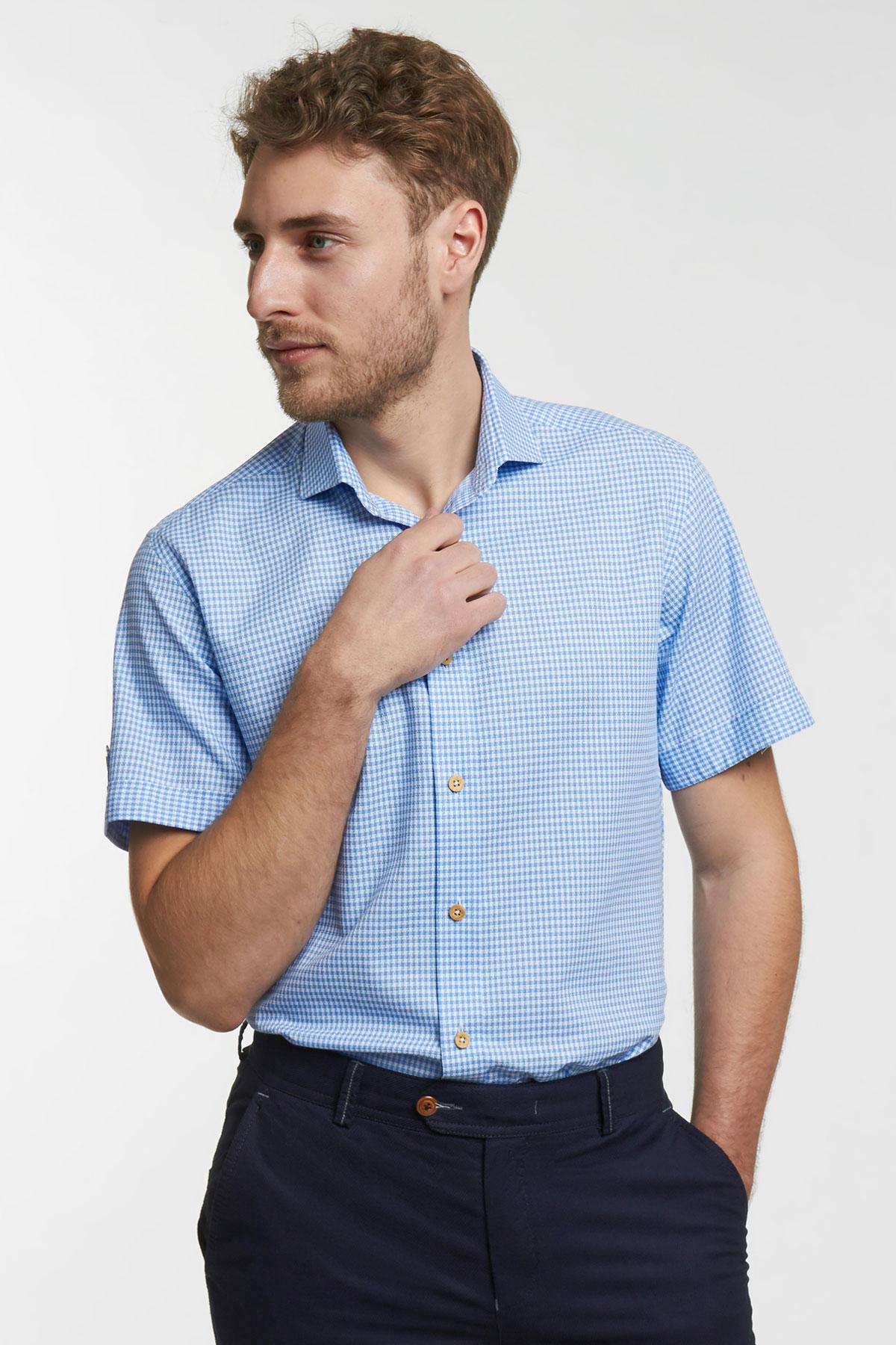 Рубашка в клетку голубого цвета 18134k