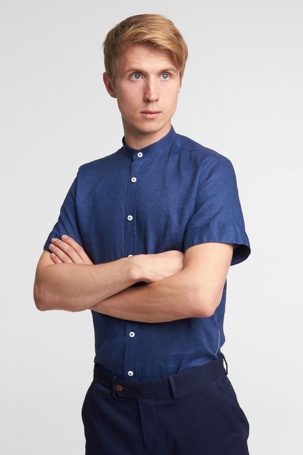 Рубашка с коротким рукавом синего цвета 18137