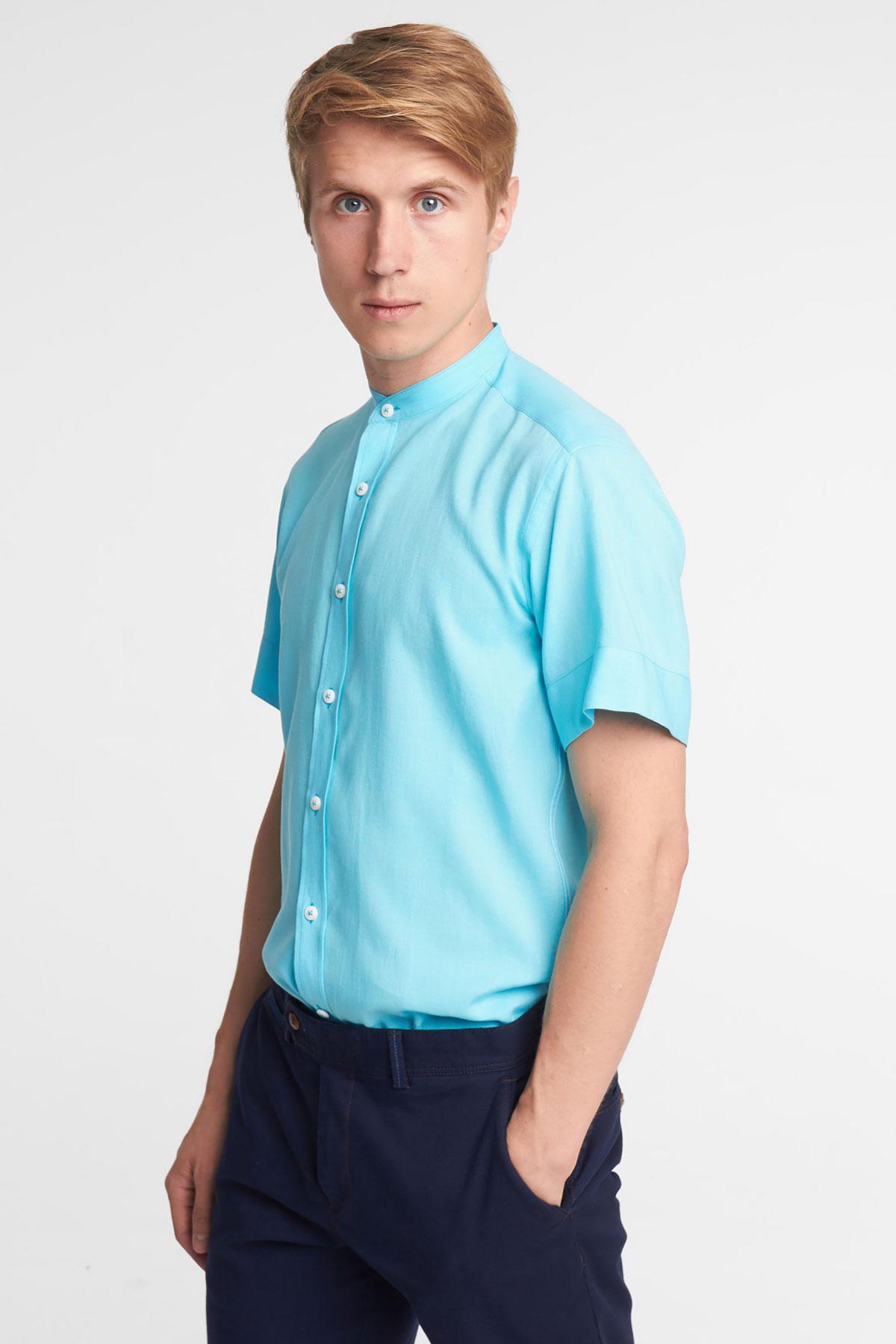Рубашка с коротким рукавом голубого цвета 18139