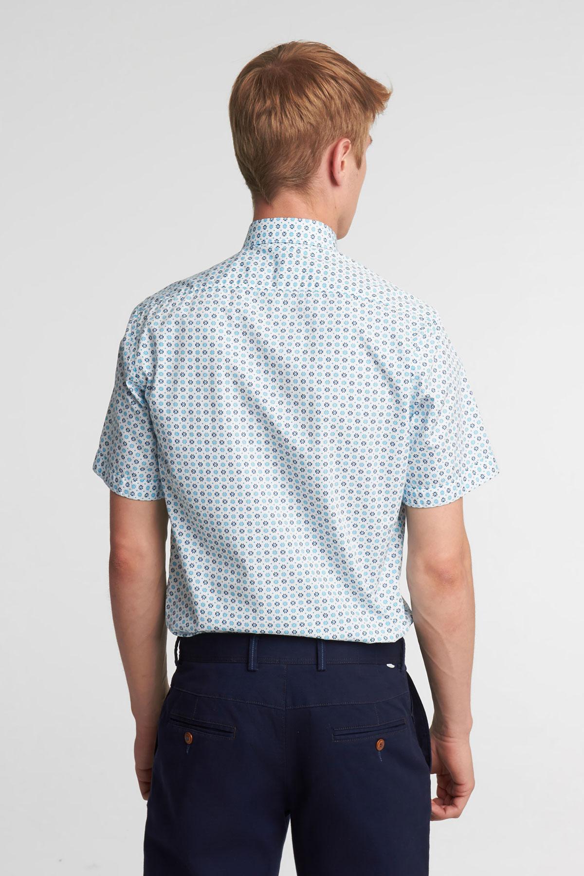 Рубашка с коротким рукавом белого цвета в узор 18142