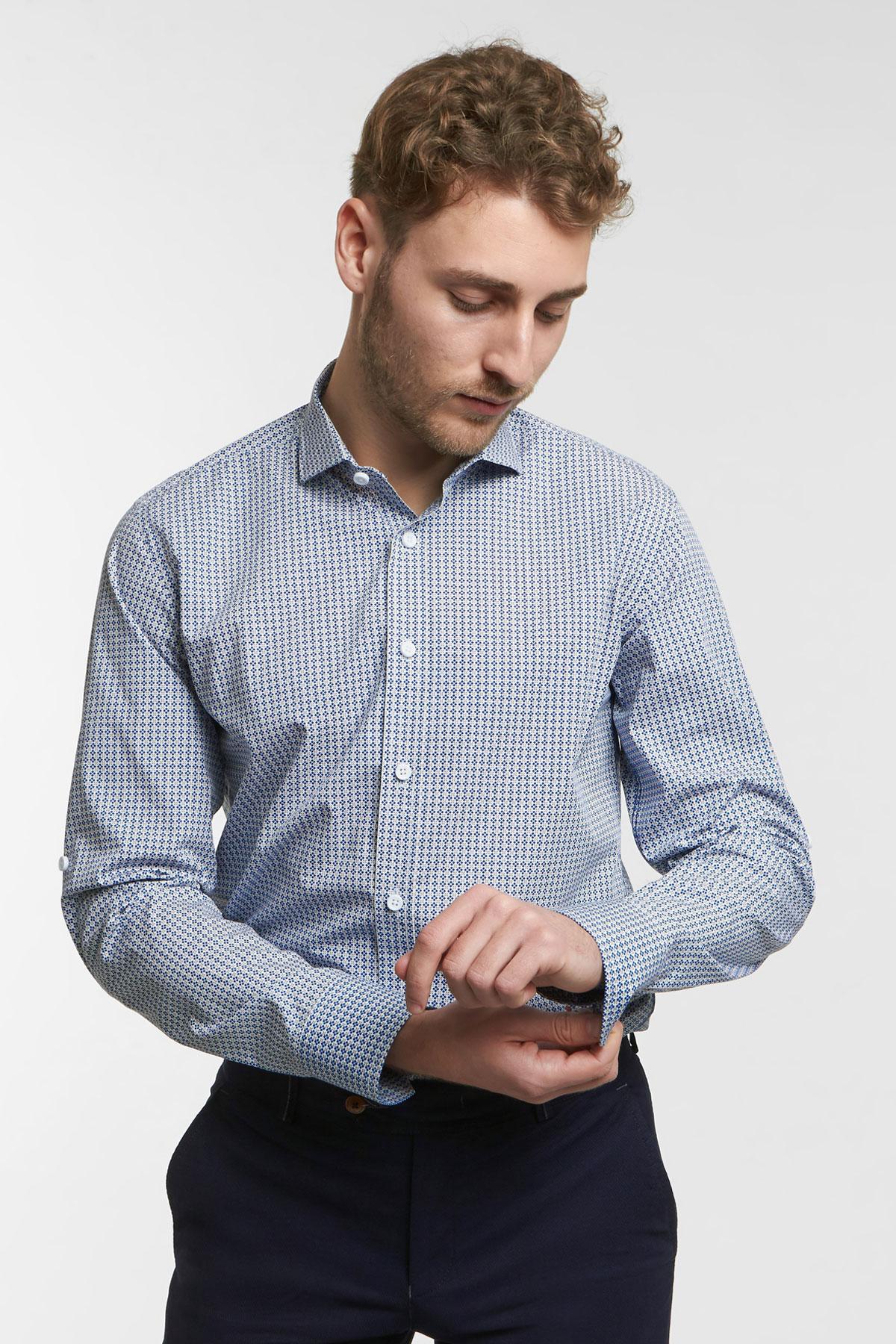 Рубашка синего цвета в узор Vaismann 18144