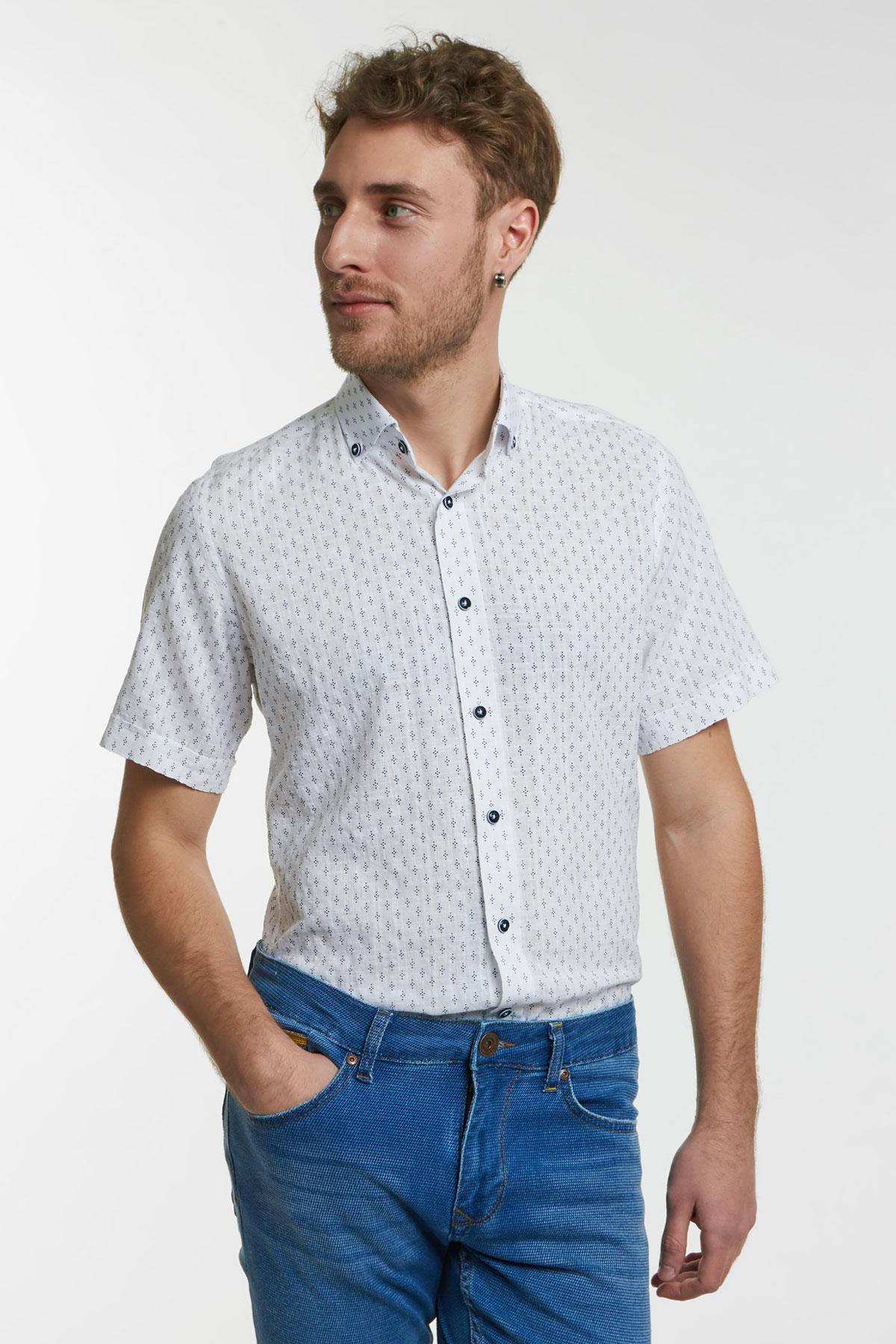 Рубашка белого цвета в узор 18146k
