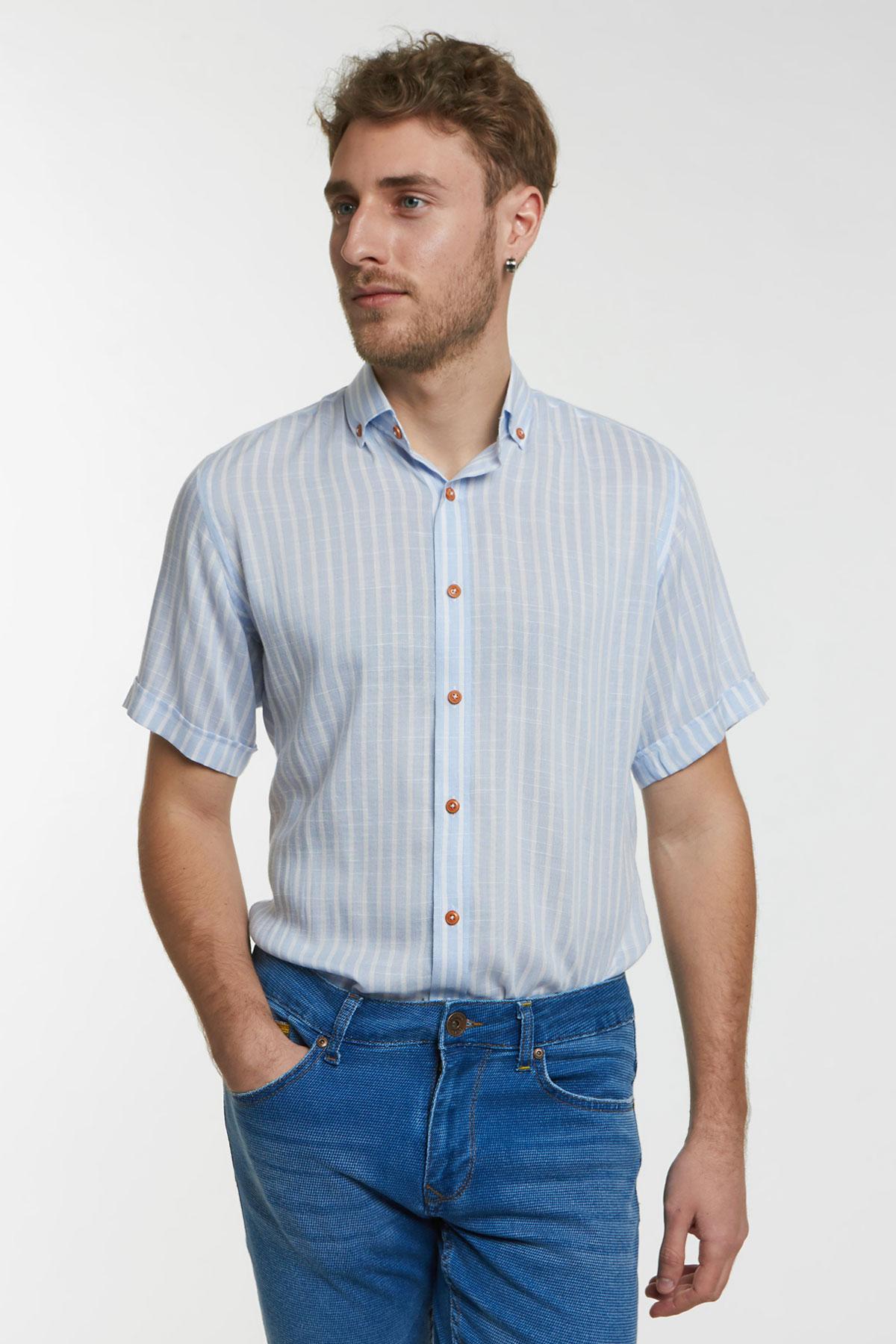 Рубашка белого цвета в полоску 18148k