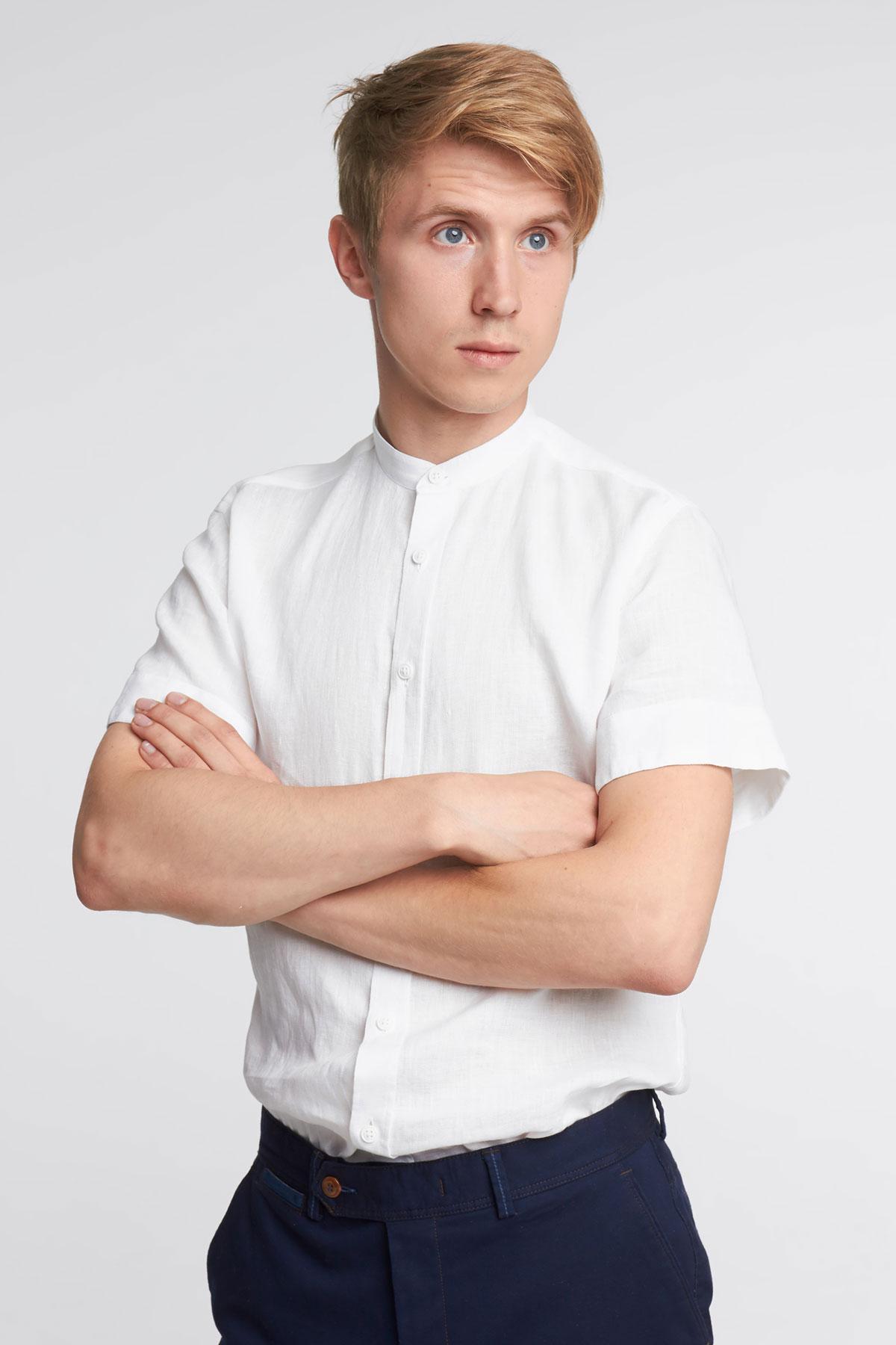 Рубашка с коротким рукавом белого цвета 18149