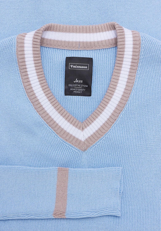 Свитер светло-синего цвета с «V-образным» вырезом 18-8001-17