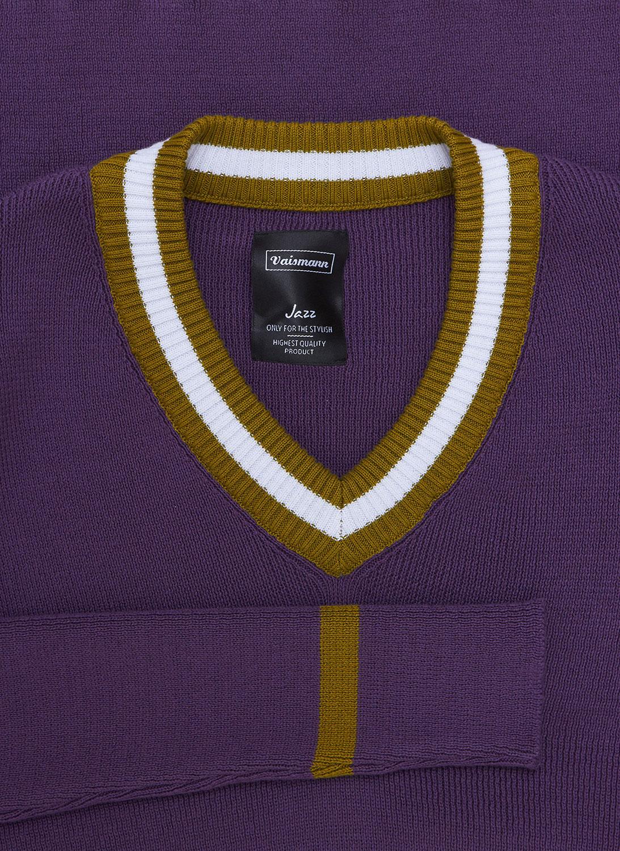 Свитер фиолетового цвета с «V-образным» вырезом 18-8001-9