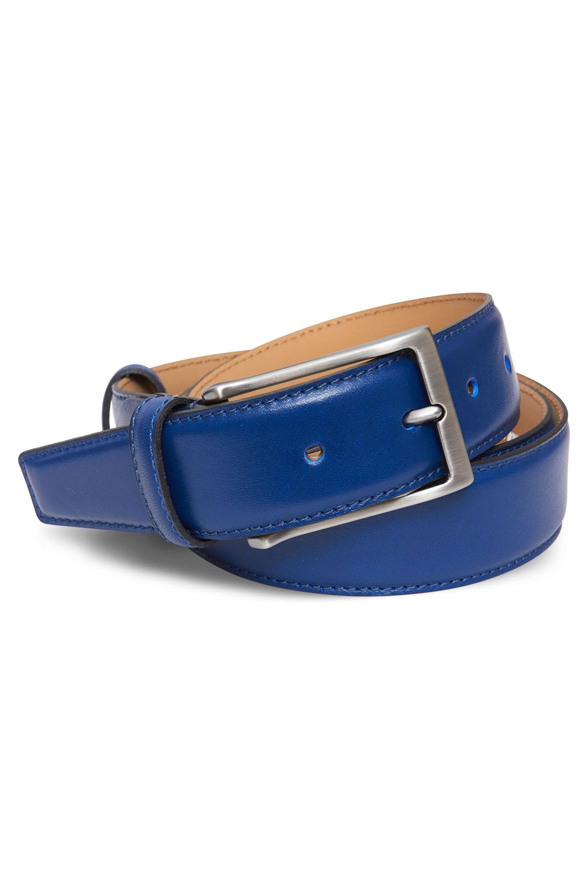 Ремень кожаный синего цвета 19-04-05