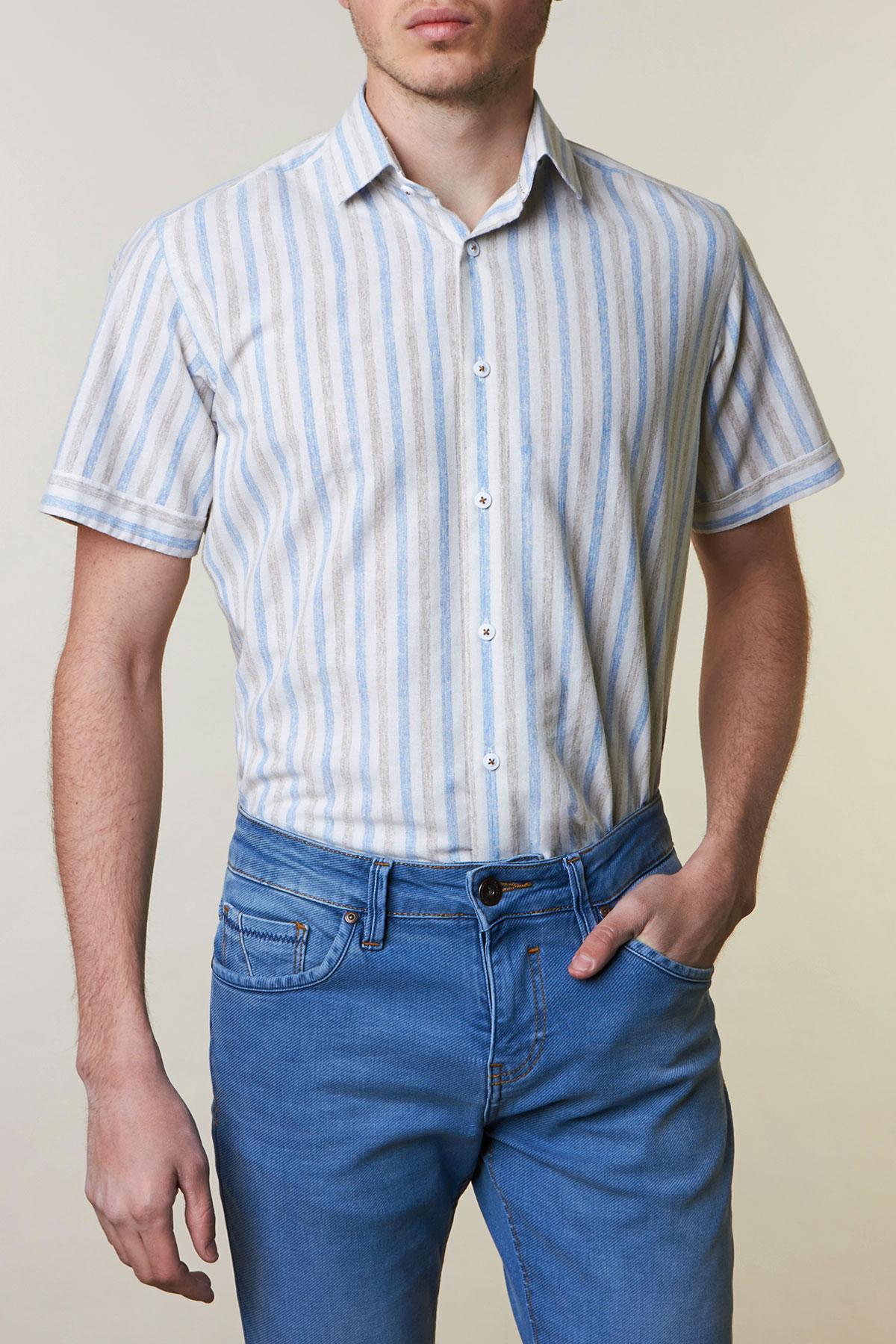 Рубашка белого цвета в полоску Vaismann 19109